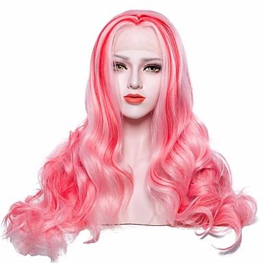 Syntetyczne koronkowe peruki Body wave Różowy Z Baby Hair Włosie synetyczne Różowy Peruka Damskie Długie Siateczka z przodu