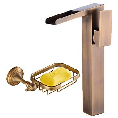 Mittellage Wasserfall Keramisches Ventil Einhand Ein Loch Antikes Kupfer , Waschbecken Wasserhahn