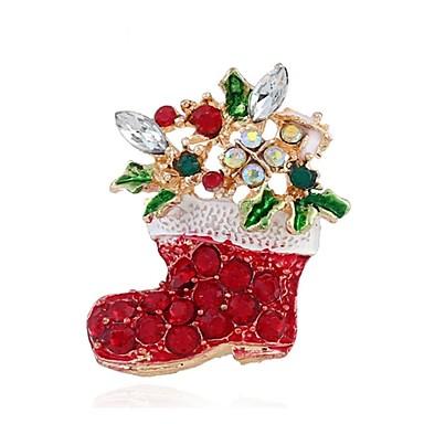 Święto Świąteczna broszka Biżuteria świąteczna Czerwony Chrom Akcesoria do cosplay Boże Narodzenie