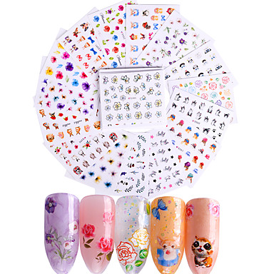 50 pcs 3D Negle Stickers Klistermærker decals Negle kunst Manicure Pedicure Mode Daglig / 3D Nail Stickers