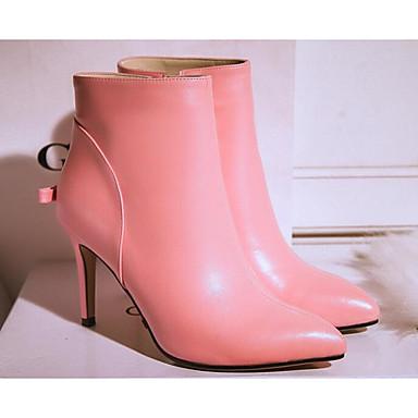 Damen Schuhe Leder Frühling Herbst Komfort Modische Stiefel Stiefel für Normal Schwarz Purpur Rosa