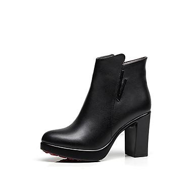 Damen Schuhe Mikrofaser Winter Flaum Futter Stiefel Runde Zehe Booties / Stiefeletten Reißverschluss Für Normal Schwarz