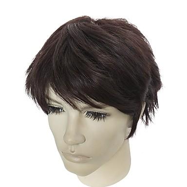 Peruki syntetyczne Kinky Straight Fryzura asymetryczna Włosy syntetyczne Naturalna linia włosów Brązowy Peruka Męskie Krótki Bez czepka