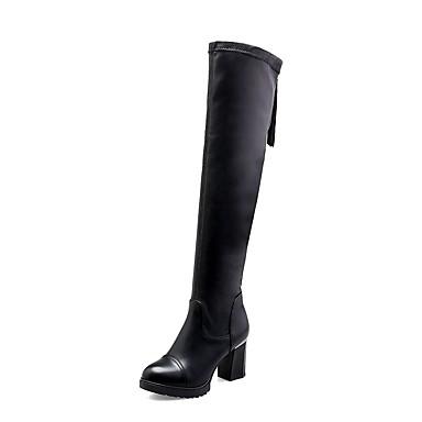 Damskie Obuwie PU Zima Obuwie w stylu wojskowym Buciki Okrągły Toe Udo wysokiej Boots Black