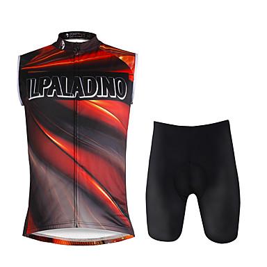 ILPALADINO Męskie Bez rękawów Koszulka z szortami na rower - Jacinth +Gray Tęczowy Rower Zestawy odzieży, Quick Dry, 3D PAD
