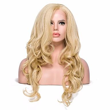 Syntetyczne koronkowe peruki Falowana Blond Z Baby Hair Włosie synetyczne Blond Peruka Damskie Długość średnia Siateczka z przodu