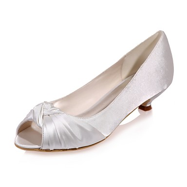 56426f55dd488 Women s Satin Spring   Summer Basic Pump Wedding Shoes Kitten Heel Peep Toe  Blue   Champagne   Ivory   Party   Evening