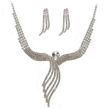 Damskie Biżuteria Ustaw Kolczyki koła, Naszyjnik - Imitacja diamentu Silver
