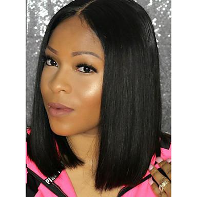 Włosy naturalne Siateczka z przodu Peruka Włosy brazylijskie Body wave Peruka Fryzura Bob / Z Baby Hair 130% 100% Dziewica Damskie Krótkie Peruki koronkowe z naturalnych włosów