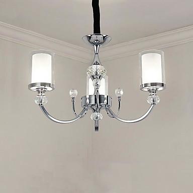 QINGMING® 3 lumières Bougie Lustre Lumière dirigée vers le haut Plaqué Métal Verre Style mini 110-120V / 220-240V Ampoule non incluse / E12 / E14