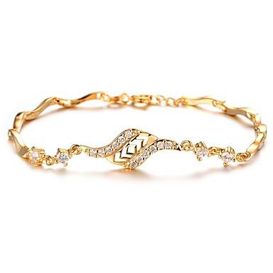 Damskie Cyrkonia Rhinestone Cyrkonia Pozłacane Bransoletki i łańcuszki na rękę - Vintage Elegancki Gold Bransoletki Na Ślub Party Wieczór