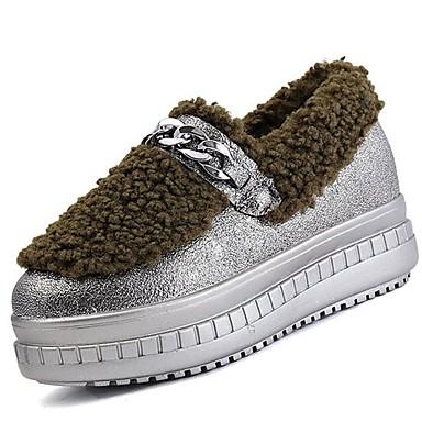 Damskie Obuwie PU Zima Comfort / Futro lining Mokasyny i pantofle Okrągły Toe Black / Gray