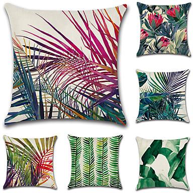 6 szt Cotton / Linen Pokrywa Pillow / Poszewka na poduszkę, Liście drzew / / Nowość / Klasyczny קלאסי / Retro / Tradycyjny / Classic