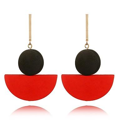 Damskie Kolczyki wiszące , Artystyczny Słodkie Drewniany Circle Shape Biżuteria Black Czerwony Green Prezent Randka Biżuteria kostiumowa