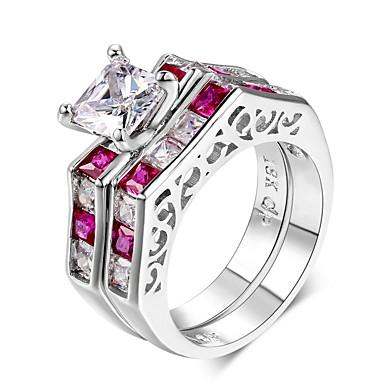 baratos Bijuteria de Mulher-Mulheres Conjuntos de anéis Zircônia Cubica 2 Rosa Claro Prata de Lei Zircônia Cubica Vintage Elegant Casamento Festa de Noite Jóias de