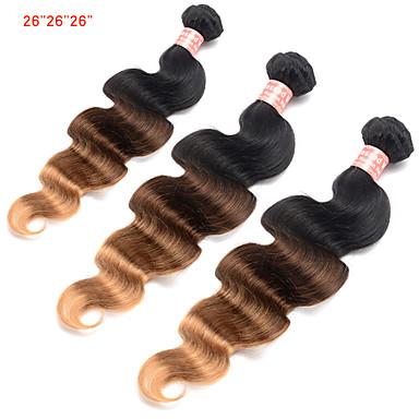 3 zestawy Włosy brazylijskie Włosy naturalne Ombre Ludzkie włosy wyplata Ludzkich włosów rozszerzeniach Damskie