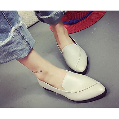 Damen Schuhe PU Frühling Herbst Komfort Flache Schuhe für Normal Weiß Schwarz Grau