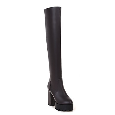 Chaussures Femme Noir Mode Automne Bottes à rond Printemps 06373911 Cuissarde Marron Bout Bottes la Matières Personnalisées drW8rn