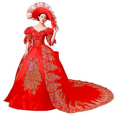 Viktoriaaninen Rokokoo Asu Naisten Mekot Naamiaisasu Juhla-asu Punainen Vintage Cosplay Pitsi Silkki Organza Liinavaatteet Satiini