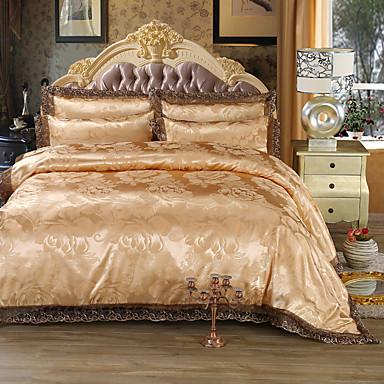 Zestawy kołdra okładka Luksus 4 elementy Faux Silk Żakard Faux Silk 4 sztuki (1 poszewka na kołdrę, 1 prześcieradło płaskie, 2 poduszki