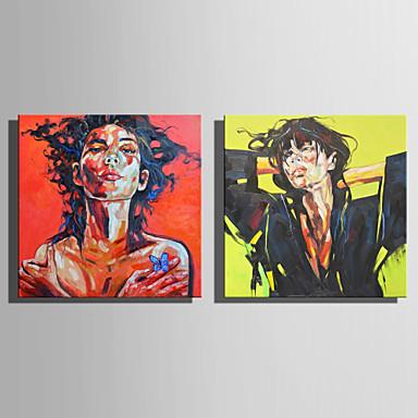 Ręcznie malowane Ludzie Kwadrat, Rustykalny Nowoczesny Brezentowy Hang-Malowane obraz olejny Dekoracja domowa Dwa panele