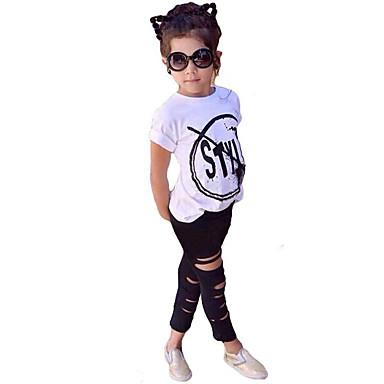 Mädchen Kleidungs Set Einfache Zitate & Sprüche Baumwolle Acryl Elasthan Ganzjährig Kurzarm Niedlich Freizeit Aktiv Weiß