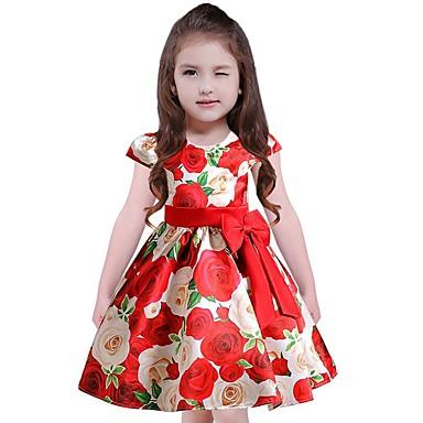 Kinder Mädchen Freizeit Blumen Kurzarm Baumwolle Polyester Kleid Blau