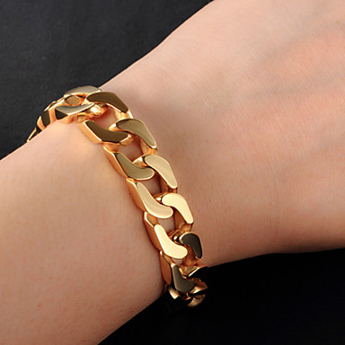 cheap Men's Bracelets-Men's Cuban Link Thick Chain Bracelet 18K Gold Plated Stainless Steel Fashion Hip-Hop Bracelet Jewelry Gold / Silver For Casual Daily Wear