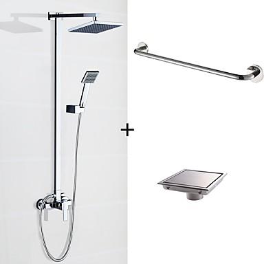 Zestaw baterii - Deszczownica / Zawiera prysznic ręczny / Wall Mount Chrom Budowa prysznica Dwa Otwory