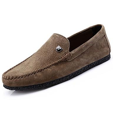 Herrn Schuhe Leder / PU Frühling / Herbst Komfort Loafers & Slip-Ons Schwarz / Grau / Khaki