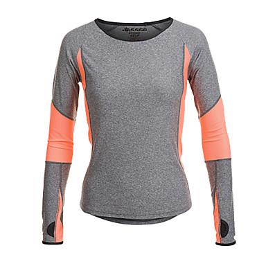Jaggad Dame T-skjorte til jogging - Grå sport T-Trøye / Topper Langermet Sportsklær Fort Tørring, Fukt Gjennomtrengelighet, Pustende