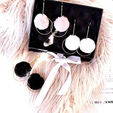 Damskie Kolczyki wiszące Kolczyki koła Flanela Polar Stop Circle Shape Biżuteria White Black Różowy Prezent Urlop Biżuteria kostiumowa