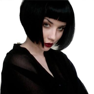 人工毛ウィッグ ストレート スタイル バング付き キャップレス かつら ブラック ブラック 合成 女性用 ナチュラルヘアライン ブラック かつら ミディアム MAYSU