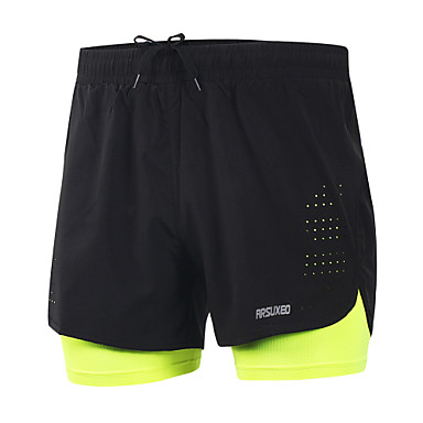 Arsuxeo 2019 New Running Shorts Men 2 In 1 Compression Marathon Quick Dry Gym Tights Sport Shorts with Reflective Zipper Pocket Yellow Blue Grey Spandex Active Training Fitness Gym Workout Plus Size
