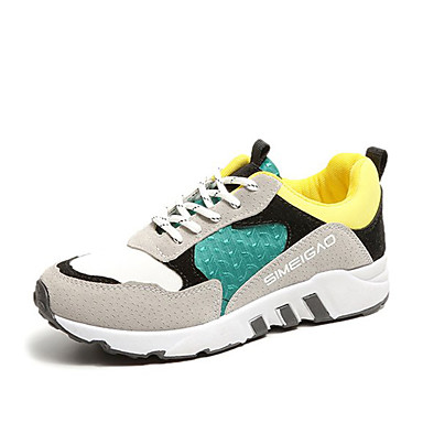 Damen Schuhe PU Herbst Komfort Sneakers Runde Zehe Schnürsenkel für Normal Schwarz Dunkelgrau Hellgrau