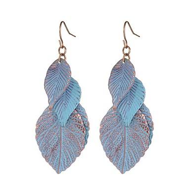 Damskie Leaf Shape Kolczyki wiszące - Vintage Modny Słodkie Niebieski Leaf Shape Kolczyki Na Codzienny Casual