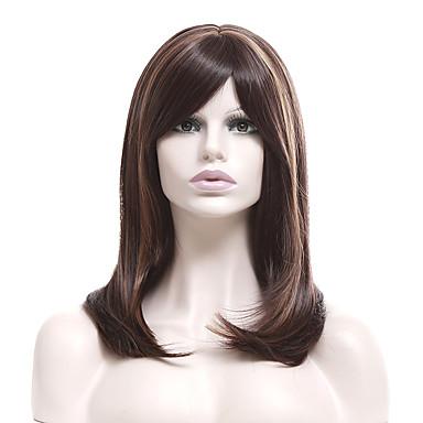 Peruki syntetyczne Prosto Włosy syntetyczne Balejaż / refleksy Brązowy Peruka Damskie Krótki Peruka naturalna Bez czepka