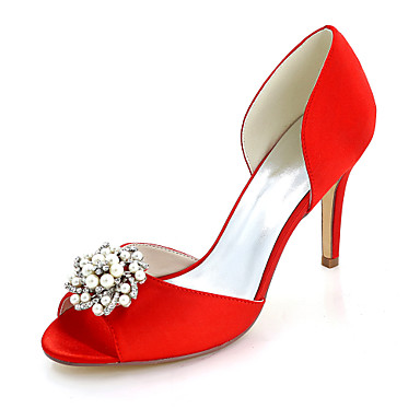 8de05f27e004 Women s Shoes Satin Spring   Summer Basic Pump Wedding Shoes Stiletto Heel  Peep Toe Rhinestone   Imitation Pearl Blue   Champagne   Ivory