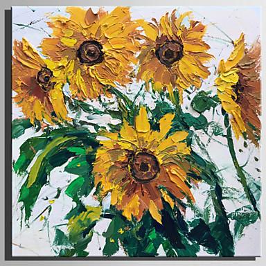 Ręcznie malowane Kwiatowy/Roślinny Kwadrat, Rustykalny Nowoczesny Brezentowy Hang-Malowane obraz olejny Dekoracja domowa Jeden panel
