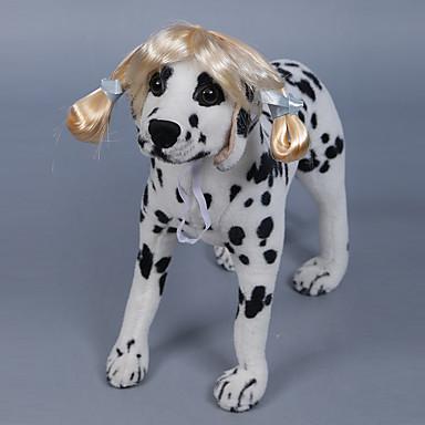 Pies Peruka Ubrania dla psów Prążki Gold Black Brown Inny materiał Kostium Dla zwierząt domowych Elegancki