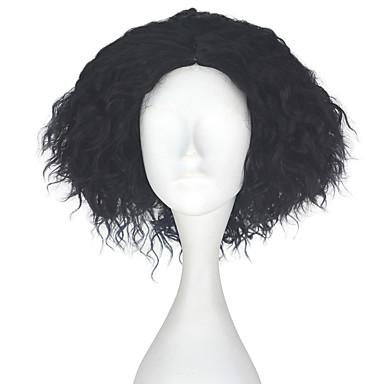 Peruki syntetyczne Kinky Curly Gęstość Bez czepka Męskie Czarny Karnawałowa Wig Halloween Wig Peruka imprezowa Lolita Wig Peruka