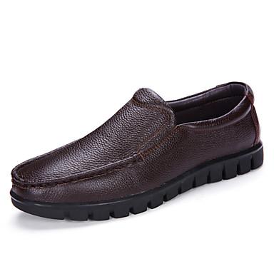 Męskie Buty Nappa Leather Wiosna / Jesień Comfort Mokasyny i pantofle Black / Dark Brown