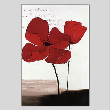 Hang-Ölgemälde Handgemalte - Blumenmuster / Botanisch Klassisch Segeltuch / Gestreckte Leinwand