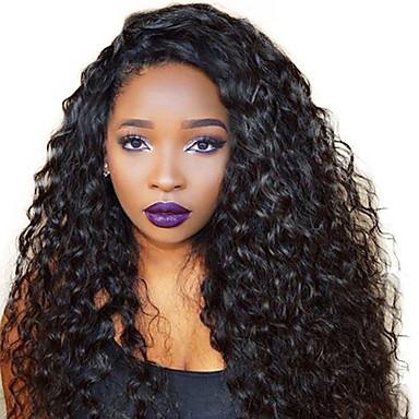 Włosy remy Koronkowy przód Peruka Włosy peruwiańskie Kędzierzawy Z baby hair 130% Gęstość 100% Dziewica Peruka afroamerykańska Naturalna