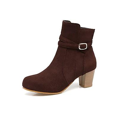 Mujer Zapatos PU Otoño invierno Botas de Moda Botas Paseo Tacón Cuadrado Dedo redondo Botines / Hasta el Tobillo Negro / Amarillo / Marrón EIAKQp2SSJ