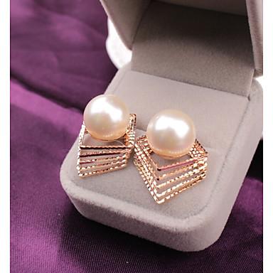 Damskie Geometric Shape Kolczyki sztyfty / Kolczyki drop - Sztuczna perła Vintage, Moda Złoty Na Codzienny / Praca