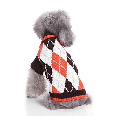 Kot / Psy Sweter Ubrania dla psów Plaid / Sprawdź Kawowy / Niebieski Włókna akrylowe Kostium Dla zwierząt domowych Męskie / Damskie Codzienne / Ogrzewacze / Moda