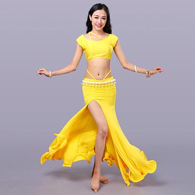 Taniec brzucha Outfits Damskie Szkolenie Mléčné vlákno Bez rękawów Wypada Spódnice Top