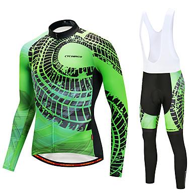 CYCOBYCO Koszulka i spodnie z szelkami na rower Męskie Długi rękaw Rower Zestawy odzieży Zima Runo Odzież rowerowa Quick Dry 3D PAD