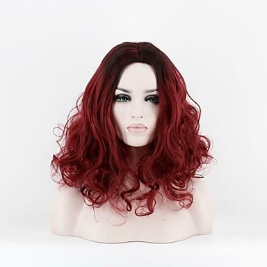Peruki syntetyczne Damskie Curly Czerwony Włosie synetyczne Przedziałek na środku Czerwony Peruka Długość średnia Bez czepka Czarny / Czerwony